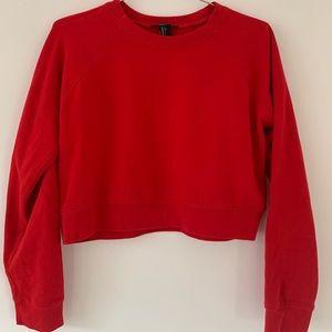 Red semi cropped sweatshirt